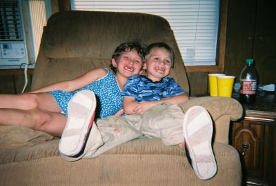 Trevor with his big sister Jessey before he started Adderall.